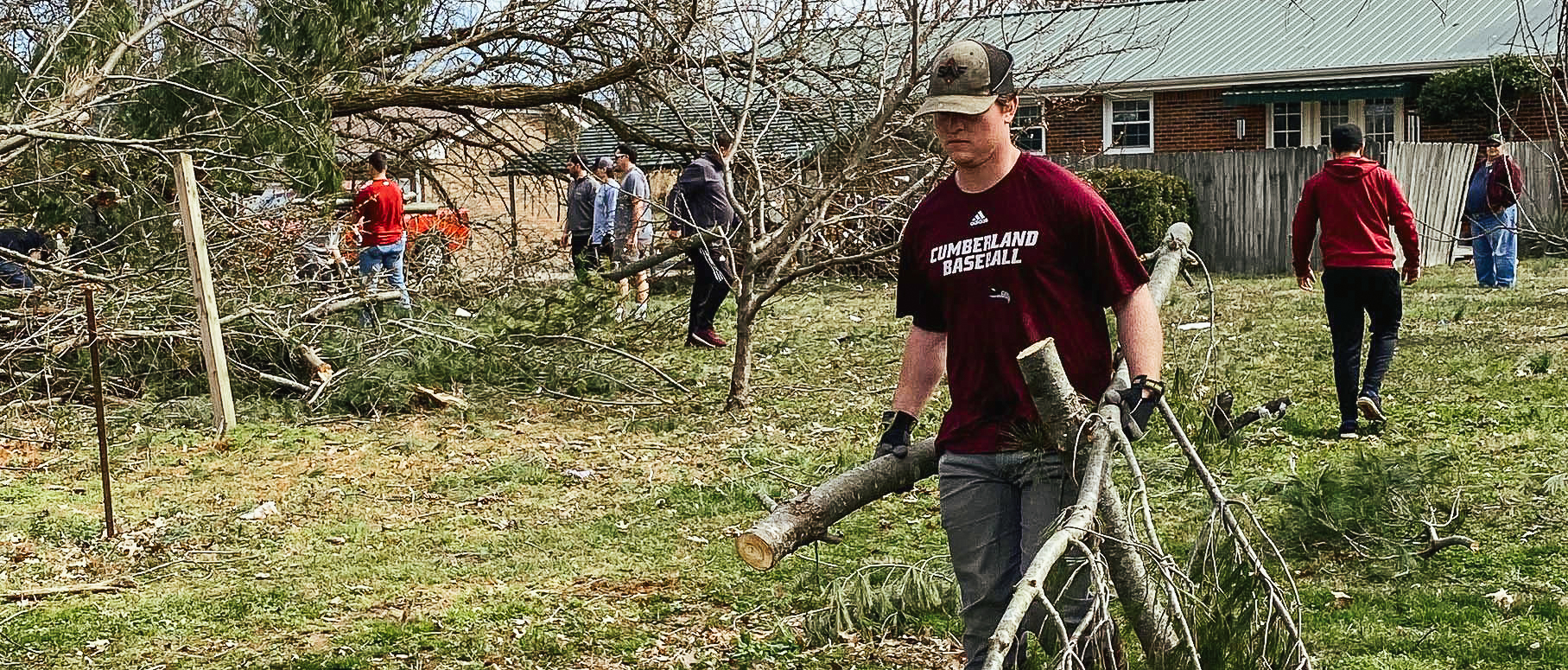 CU student helping with tornado clean up March 2020 Lebanon, TN